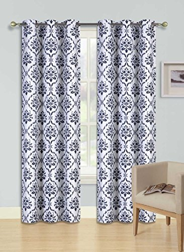 GorgeousHome Dino 1pc Black Damask Pattern Design Room Darkening Thermal Blackout Window Curtain Panel, 37″ W x 84″ L