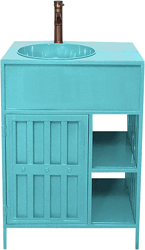 Amazon Com Ztgl 600mm Free Standing Basin Vanity Cabinet Unit Industrial Style Pedestal Bathroom Sink Environmentally Friendly Iron Material Blue Home Kitchen