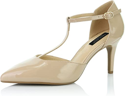 DailyShoes Womens Pointed Toe Ankle T-Strap Party High Heel Pumps Shoes