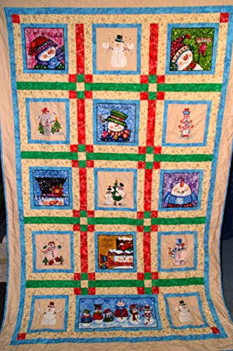 Snowman Quilt, Embroidery, Patchwork