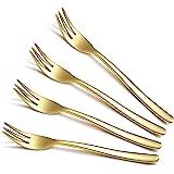 """Gold Dessert Forks 4 Pieces, Homquen 6"""" Modern Design Stainless Steel Tea Fork Set, Small Cake Fork, Fruit Forks Silver For P"""