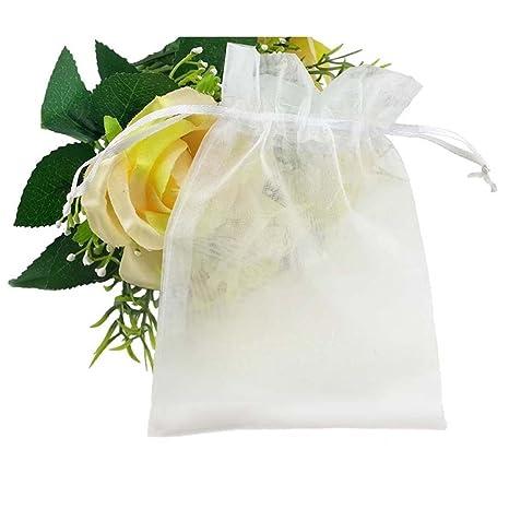 Sungpunet - 100 bolsas de organza con cordón para regalo de boda, Navidad, dulces (color blanco)
