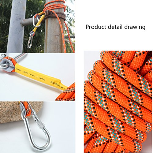 Outdoor Mountain Climbing Rope with Rock Hooks 10M(32ft) 20(64ft) 30M(98ft) 50M(164ft) Life Saving Emergency Survival Equipment 8mm(Orange)