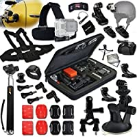 Xtech® RACING ACCESSORIES Kit for GoPro Hero 4 3+ 3 2 1 Hero4 Hero3 Hero2, Hero 4 Silver, Hero 4 Black, Hero 3+ Hero3+ Hero 3 Silver, Hero 3 Black and for Car / Cars, Car Racing, Motorcycles, Motorcycle Racing, Racing, Rallying, Sport Car Racing, Auto Racing, Dirt Bikes, Cycling, Biking, ATV and other Similar Activities Includes: Car Suction Cup Mount + Helmet Harness Mount + Chest Strap Mount + Head Strap Mount + Large GoPro Camera Travel Case + Camera Wrist Mount + Monopod Pole + MORE