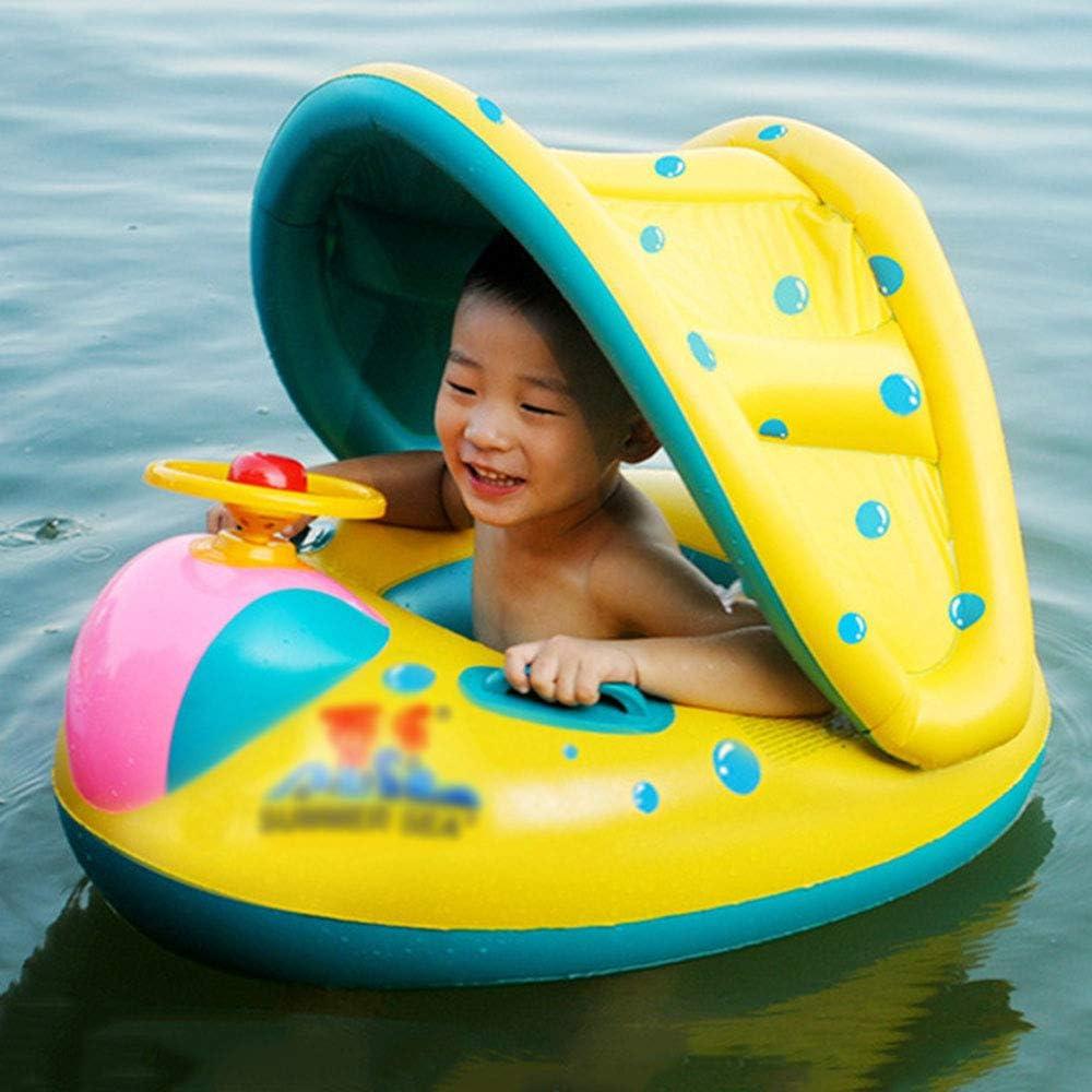 N/A Flotador, Bebé Barco Inflable Flotador, Flotador para Bebé con Asiento,Techo del Sol Ajustable Juguetes de Desarrollo de Natación en Agua para Niñosa, para Tres Años de Edad Bebé