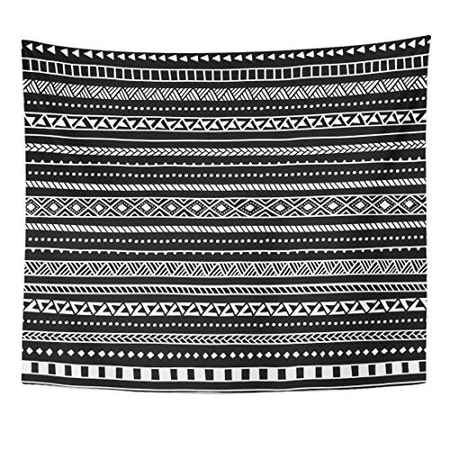 Emvency Tapestry Folk Aztec Black and White Striped Pattern Ethnic Tribal Motifs Cute Drawn Hand Mexican Home Decor Wall Hanging for Living Room Bedroom Dorm 50x60 Inches