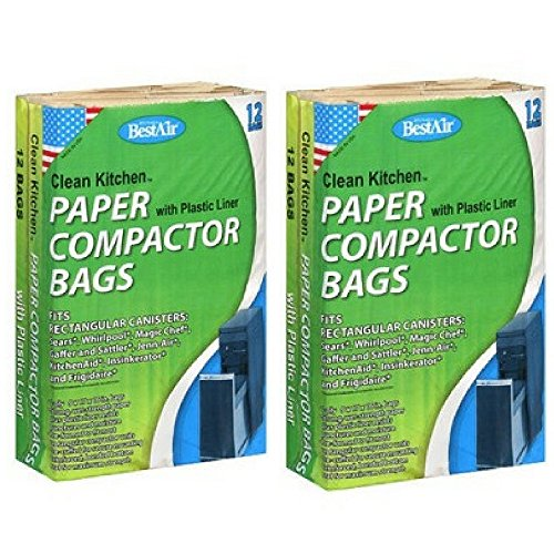Bestair Clean Strong Kitchen Paper Compactor Bag with Plastic Liners, 12 count, (Pack of 2)