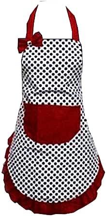 Hyzrz Lovely Lady Dot Flirty Canvas Funny Apron Restaurant Kitchen Aprons for Women Girls with Pocket