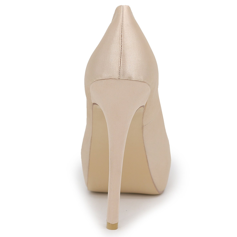 Elobaby Frauen Hochzeit Schuhe Zehe Hochhackigen Hochhackigen Zehe Satin Gericht Geschlossen Zehe Weiß Elfenbein Runde/12,5 cm Absatz ROT 3c84b8