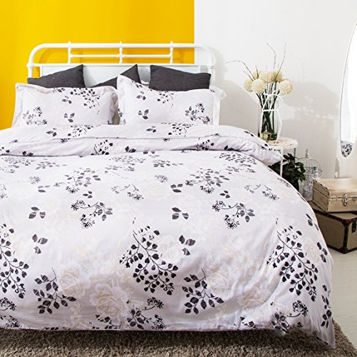 3 Piece Duvet Cover and Pillow Shams Comforter Set, Hypoallergenic Breathable Soft Microfiber Duvet Cover in Black and White with Hidden Zipper and Tieback (Queen) (Duvet Comforter White And Black)