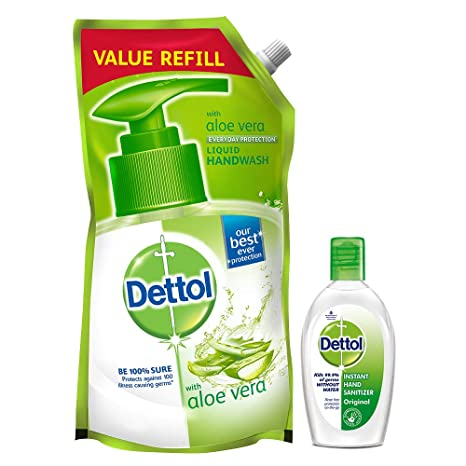 Dettol Germ Protection pH-Balanced Liquid Hand Wash Refill, Aloevera - 750 ml with Dettol Hand Sanitizer, Original - 50ml