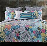 Quilt Set with Shams 3 Piece Cottage with Flowers Butterflies Paisley Floral Print Pattern Blue Yellow Bedding Luxury Reversible Bedspread Oversize King/Cal King Size - Includes Bed Sheet Straps