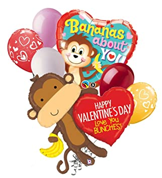 7 pc Monkey Love You Bunches Happy Valentines Day Balloon Bouquet Mine Hug  Kiss