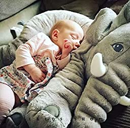 Special Life Stuffed Elephant Plush Baby Pillows, Hugging Cuddling Sleeping Pillow, or Just Decoration, Gifts for Kids and Adults (Grey)