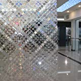 17.7-by-72-Inch Leyden Cut Glass Circular Geometric No-Glue 3D Static Decorative Glass Window Films
