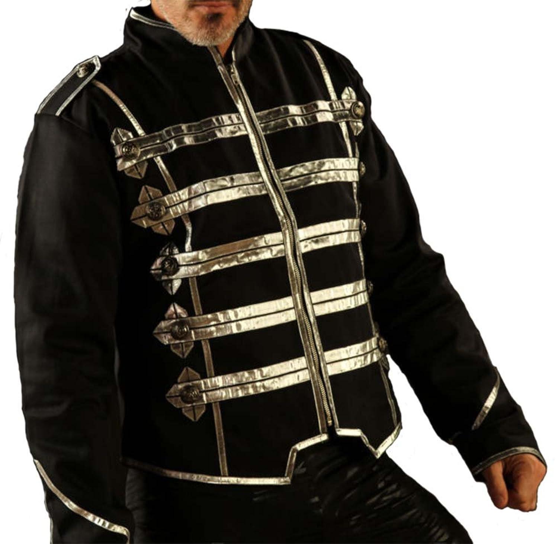 Mens Military Short Black Cotton Jacket Top Silver Grid Zip Front STPG2