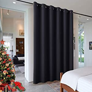 RYB HOME Space Divider Wall Panel, Room Darkening Drape for Bedroom Furniture Protected Blackout Space Partition Curtain for Patio Sliding Door/Locker Room, 10 ft Wide x 9 ft Tall, Black, 1 Pcs