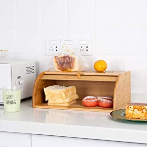 Roll Top Bread Box Bamboo Storage Bin Kitchen Large Capacity Bread Keeper Fully Assembled (Big Size)
