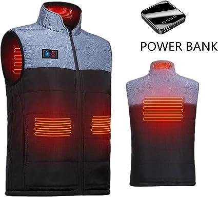 USB Men Electric Heating Vest Jacket Winter Warm Heated Coats Adjustable M-XXXL