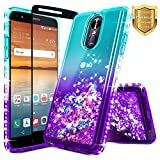 NageBee For LG Stylo 4 Case, LG Q Stylus Case with [Full Cover Tempered Glass Screen Protector] Glitter Liquid Quicksand Waterfall Flowing Sparkle Shiny Bling Diamond Clear Cute Case (Aqua/Purple)