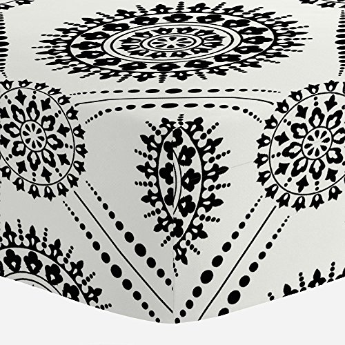 Carousel Designs Onyx Modern Medallion Crib Sheet - Organic 100% Cotton Fitted Crib Sheet - Made in The ()