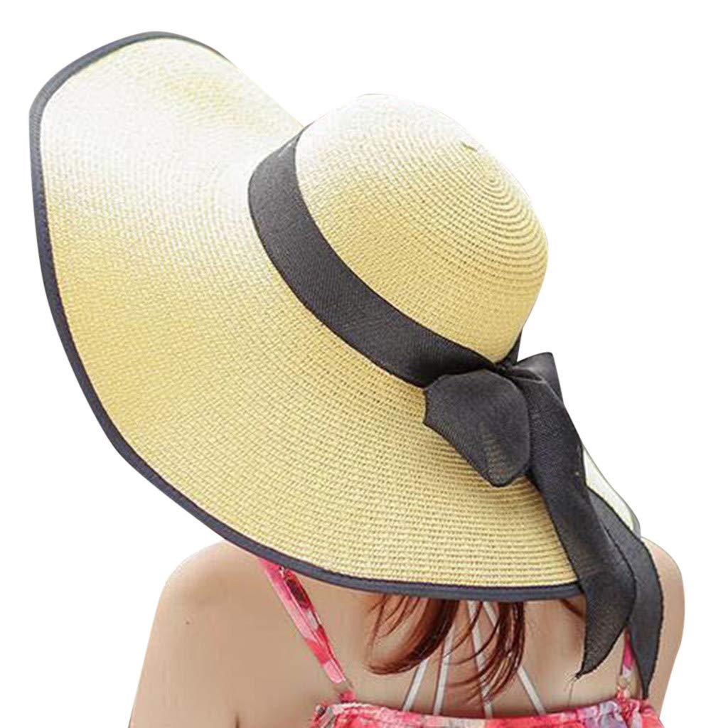 FEDULK Womens Big Bowknot Brim Straw Wide New Hat Floppy Roll up Beach Cap Sun Hat Folding Beach Cap(G, One Size)