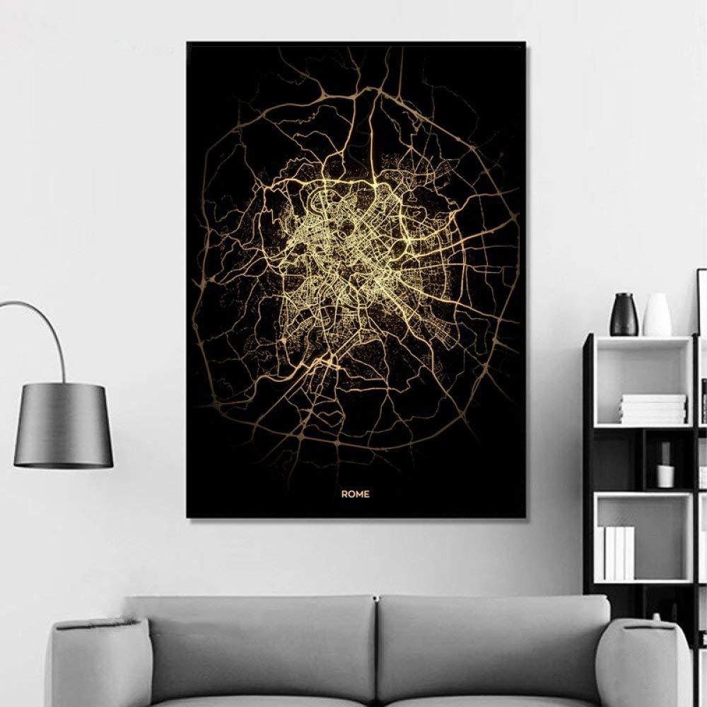 Telaio,8X12 Pollici Stampa su Tela,Roma Nero Dorato Mondo Personalizzato Mappa della Citt/à Foto Poster Stampa su Tela Stile Nordic Wall Art Dipinti su Tela per Arredamento di Casa N 20Cmx30Cm