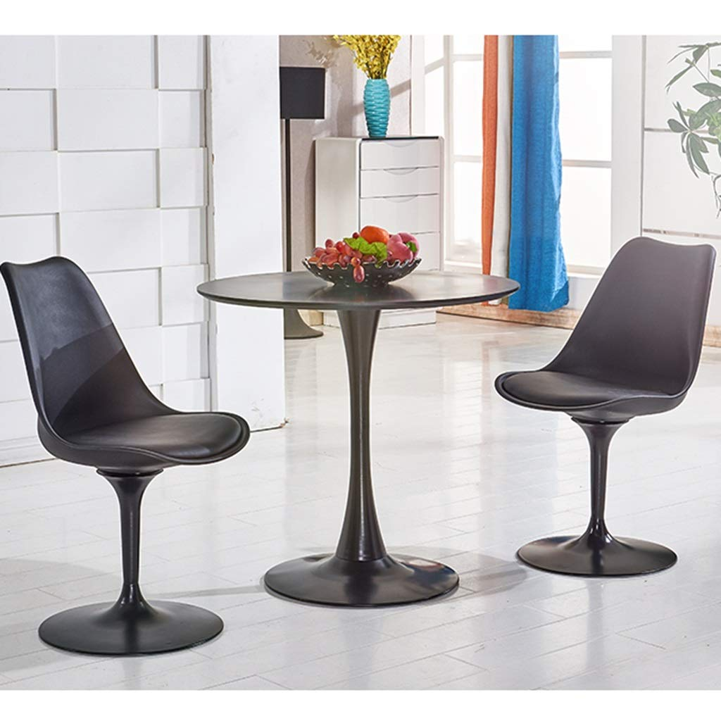 Slow Time Shop modern accent svängbar stol matstol nordisk enkel dator PU plaststol kontorsstol för hem kontor arbetsrum vardagsrum fåfänga sovrum Svart Svart