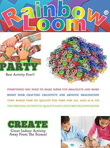 Mini Rainbow Loom Metal Hook Rainbow Loom Crafting Kit includes Loom 24 Clips 600 Rubber Bands