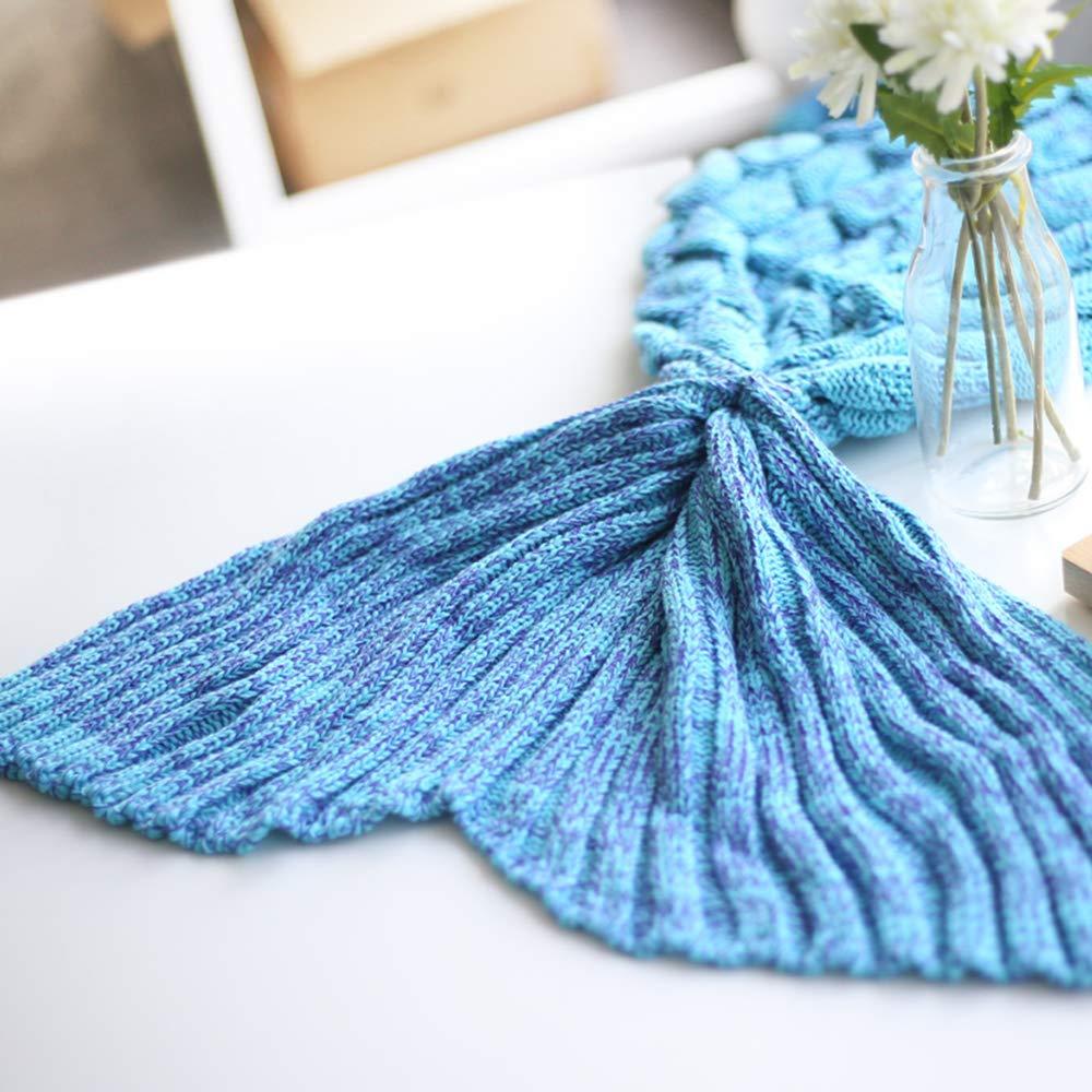 LYLIN Couverture Sir/ène 200 x 90 cm Motif /écailles de Poisson Canap/é Blanket Cadeaux pour Filles Lac Bleu Queue de Poisson Sir/ène Sac de Couchage Toutes Saisons