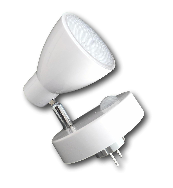 Grundig LED Steckdosen-Lampe Wandlampe Licht Spot Beleuchtung schwenkbar 7 LEDs (silber) [Energieklasse A+] Urban Design