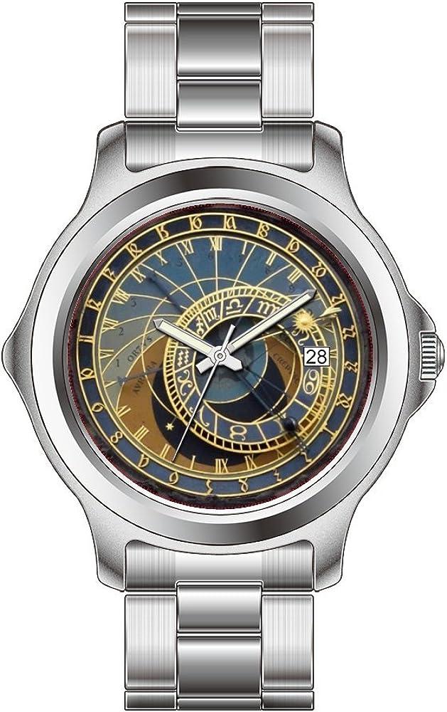 FDC - Reloj de pulsera de acero inoxidable con fecha de cuarzo japonés, reloj astronómico de Praga