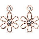 0.24 CT IGI Certified Diamond Flower Drop Dangle Earring, 14kt Gold Beaded Spiral Open Floral Long Earring, Vintage…