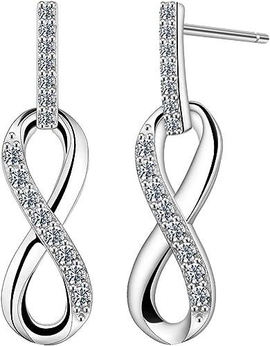 Unendlichkeit Infinity Ohrstecker Damen Mädchen Ohrringe echt Silber 925 Neu