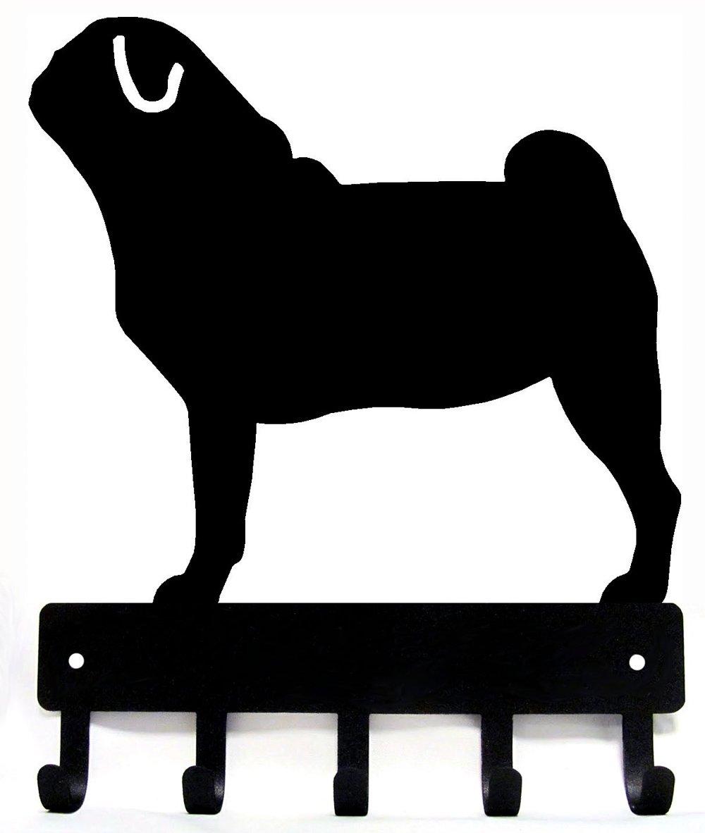 Pug Key Rack & Dog Leash Hanger - Small 6 inch