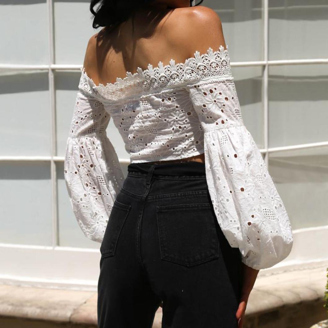 blusas sexys de mujer, blusas elegantes de fiesta verano Tops de bikini para mujer de manga larga hueco de encaje de la linterna Blusa suelta Tops Camisetas ...
