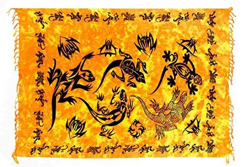 Sarong Pareo Wickelrock Strandtuch Tuch Wickeltuch Handtuch Gecko Orange + Schnalle