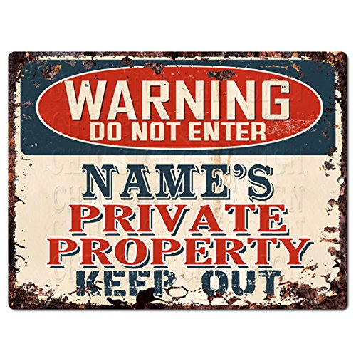 Personalized Tin Signs - WARNING NAME'S PRIVATE PROPERTY Custom Personalized Tin Chic Sign Rustic Vintage style Retro Kitchen Bar Pub Coffee Shop Decor 9