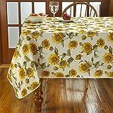 Violet Linen VL-80637-Euro-Snflwr-TC-2 Classic Euro Large Sunflowers Design Tablecloth, 52'' x 70'', Multi