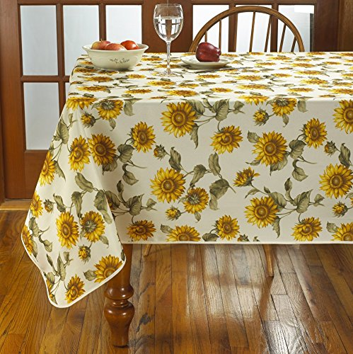 Violet Linen VL-69631-Euro-Snflwr-TC-4 Classic Euro Large Sunflowers Design Tablecloth, 60
