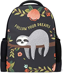 Vdsrup Cute Baby Sloth On The Tree Backpack Follow Your Dreams Sloth Bookbag Laptop Book Bag Casual Water Resistant Day Pack Travel Sports Daypack for Men Women