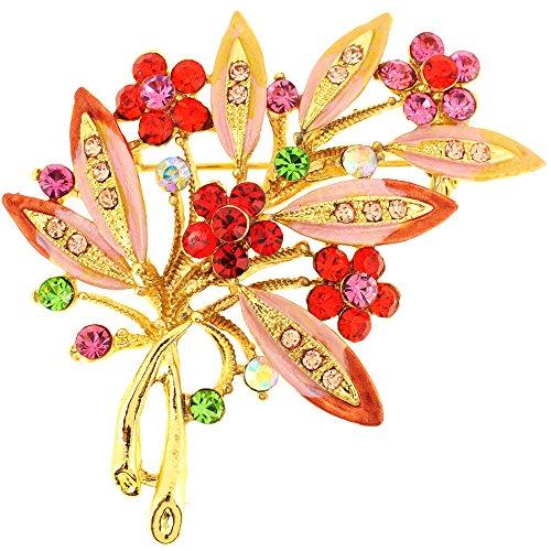 Fantasyard Multicolor Flower Swarovski Crystal Pin Brooch ()