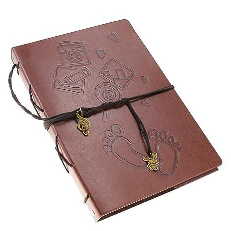 Oladwolf Álbum de Fotos Libro de Recuerdos 6x4 o 7x5 Vintage Cuero DIY Libro de Recuerdos Libro de Invitados de Boda Regalo para San Valentín ...