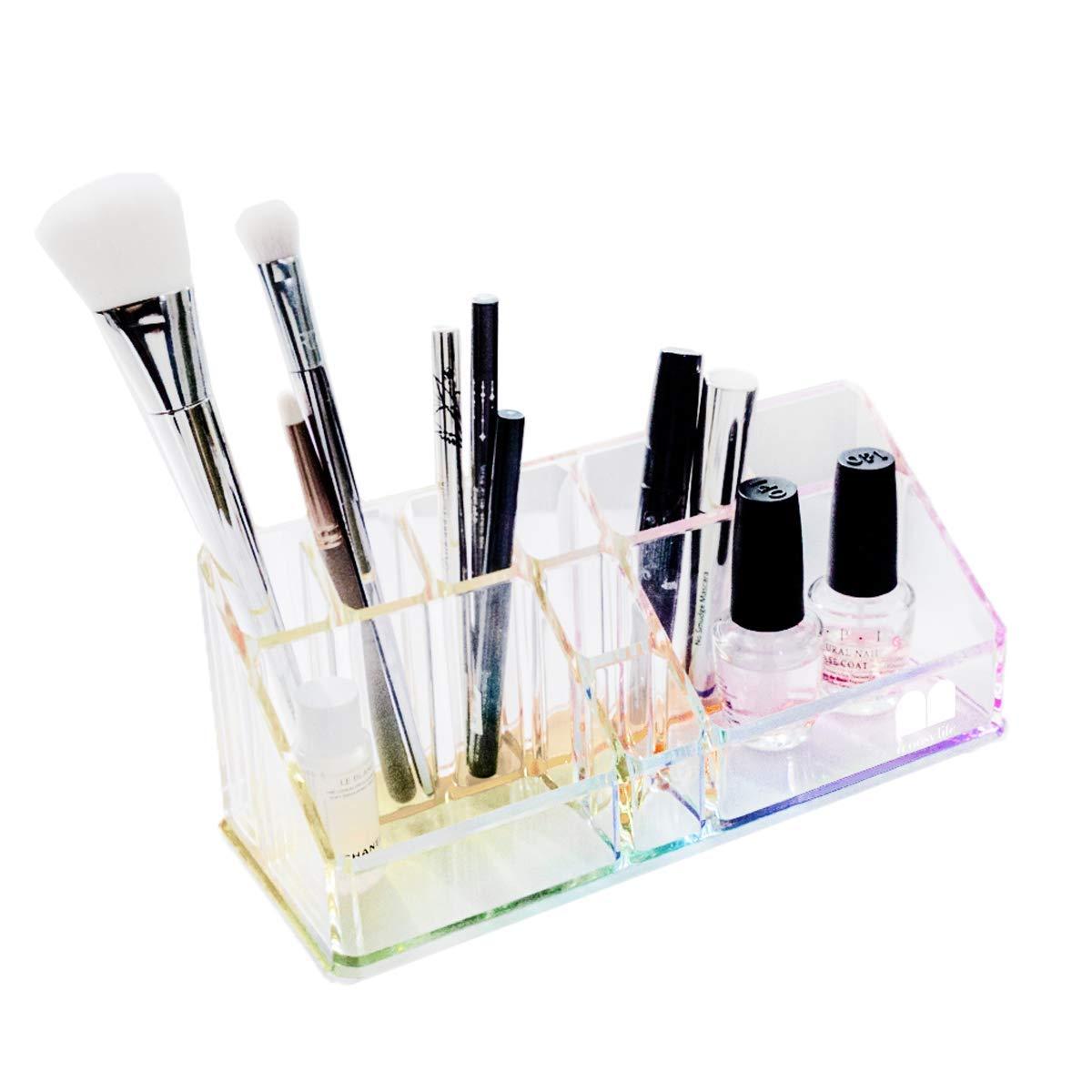 Moosy Life Acrylic Makeup and Office Desktop Organizer Rainbow