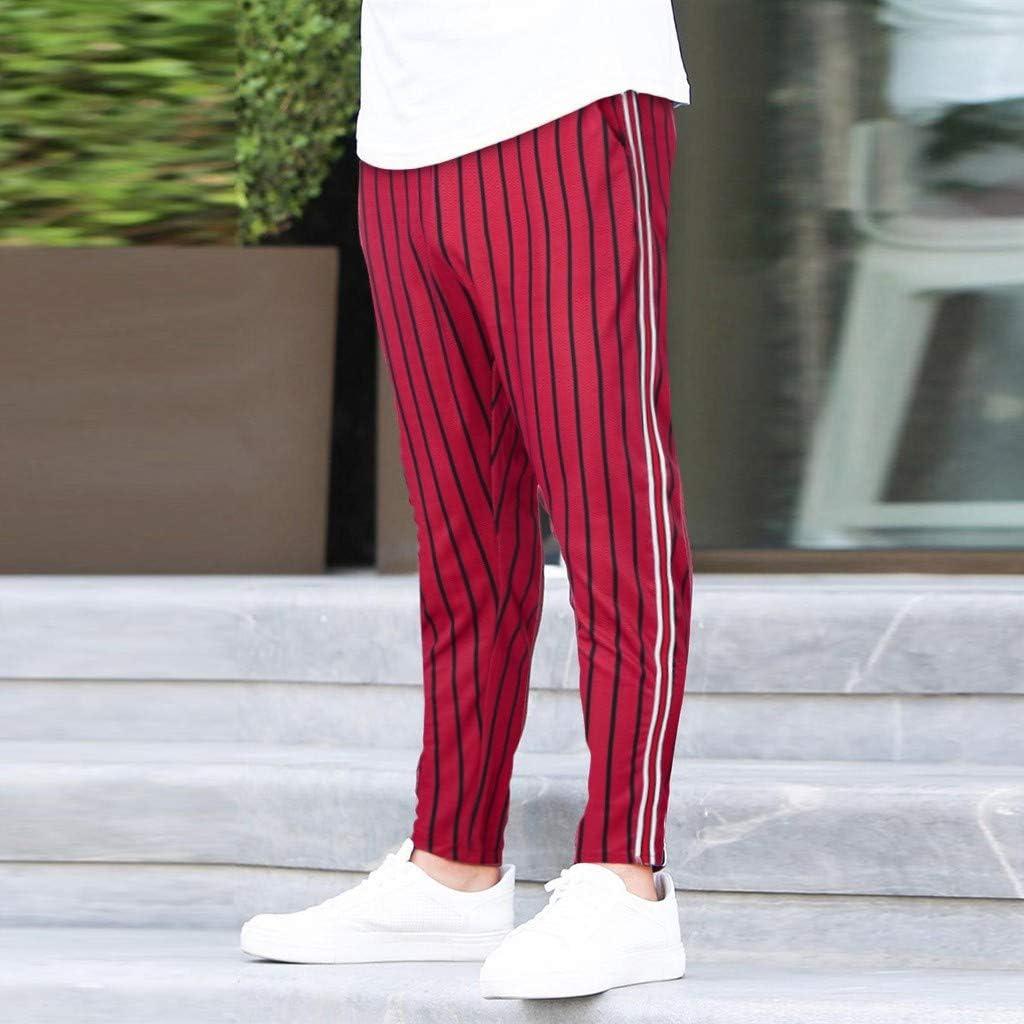 Uomo Pantaloni Trekking Nero Tuta Taglie Forti Cotone Uomo Pantaloni Cargo Casual Pantaloni da Lavoro Mens Joggers Striped Patchwork Casual Drawstring Sweatpants Lunghi Pantaloni