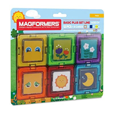 Magformers Faces Card Plus 6 Pieces Add on, Rainbow Colors, Educational Magnetic Geometric Shapes Tiles Building STEM Toy Set Ages 3+: Toys & Games