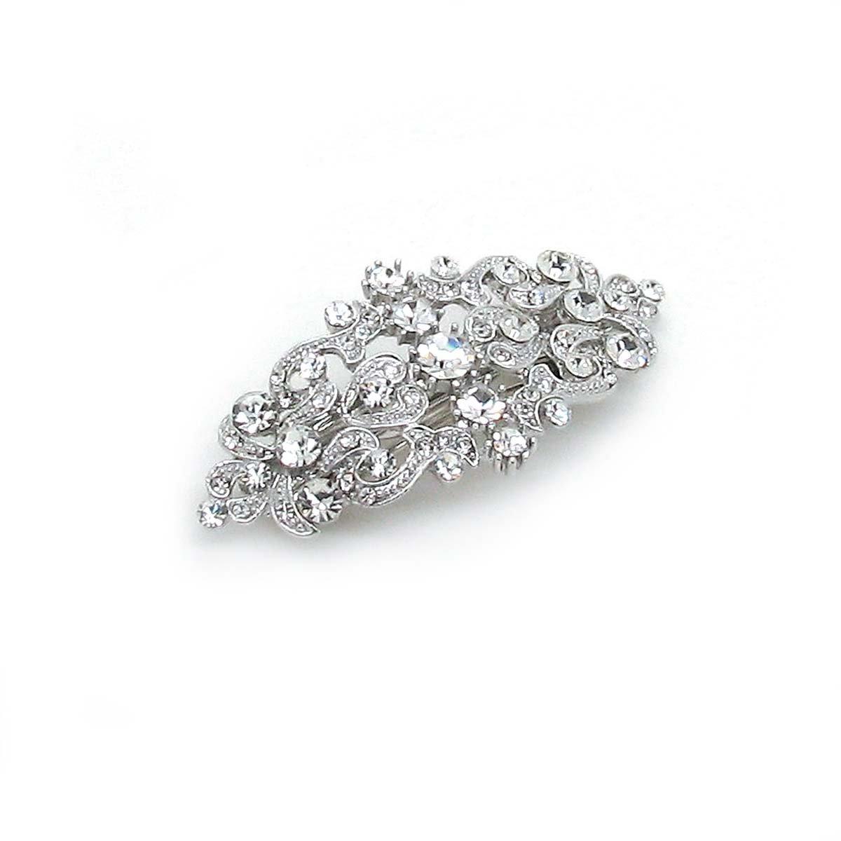 Sparkly Bride Bridal Hair Barrette Vintage Romancing Heart Rhinestone Crystal Small 2.5 inches