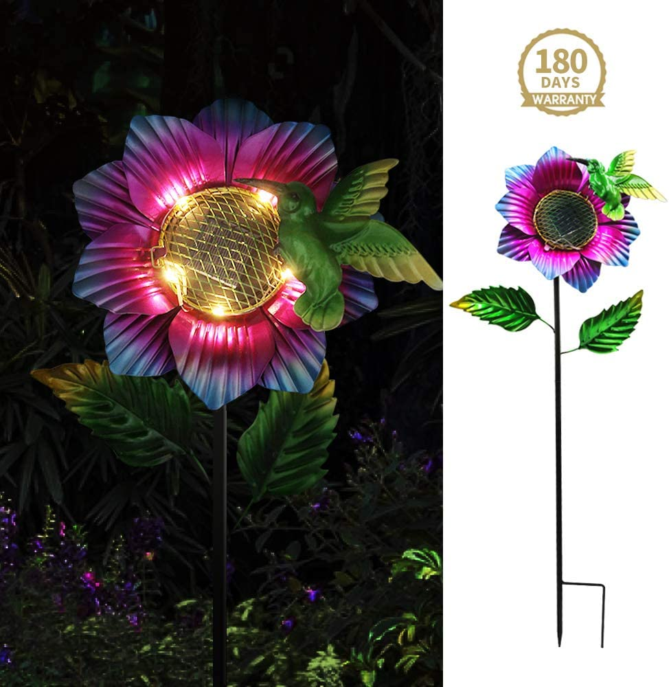 Petrala Garden Solar Lights Outdoor Decorative Metal Stake Flower Hummingbird Yard Patio Lawn Decoration