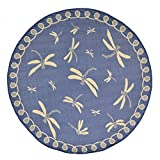 AREA RUGS - ''DRAGONFLY DANCE'' RUG - MARINE BLUE - 7'10'' ROUND - INDOOR OUTDOOR