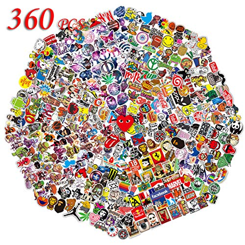 (QWDDECO Stickers (360-PCS) Cute Stickers for Water Bottles Hydroflasks Skateboard- Decal Stickers for Teens, Girls, Boys, Adults-Laptop Stickers - Vinyl Stickers Waterproof - Sticker Pack Not Random)